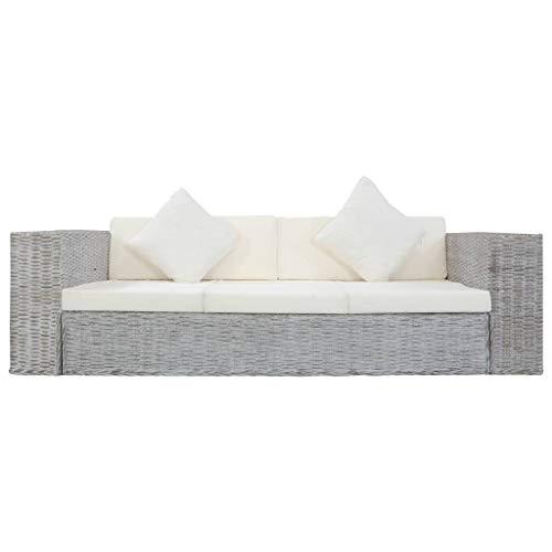 Tidyard Sofa 3-Sitzer mit Polstern Dreisitzer Loungesofa Rattansofa Sitzmöbel Couch Rattanmöbel Wohnzimmer Möbel Büromöbel Grau Natürliches Rattan