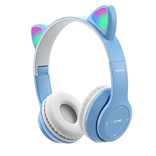 B Blesiya Auriculares inalámbricos Cat Ear, Control de Volumen Plegable, Sonido Envolvente, luz LED, Auriculares con cancelación de Ruido con micrófono para TV, Azul Claro