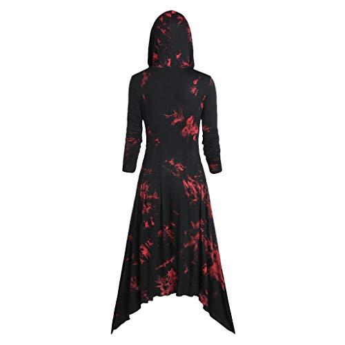 SHE.White Damen Langarm Tie-Dye Kleider Kapuze Halloween Hoodie Sommer Herbst Kleid Unregelmäßige Hem Große Größe Retro Partykleid Casual Midi Kleid