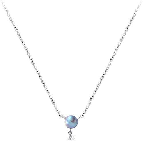 N-G Collier Mode Moderne Collier Exquis lumière Fluorescente Bijoux en Argent Mat Perles Rondes Goutte Cristal Moderne