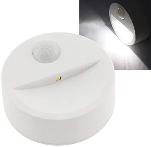 Led-trapverlichting met bewegingsmelder, helderheidssensor, dag nacht detectie, 70 x 32 mm, ronde batterijlamp met 90 graden sensor, 3 x AA Mignon wit