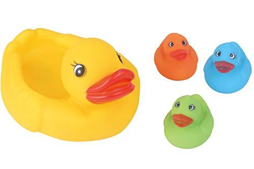 Brigamo Badeente Familie, Badeenten Mama und 3 x Quietscheenten Baby, Badewannenspielzeug