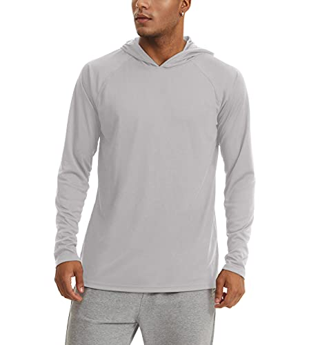 KEFITEVD UV Langarmshirt Herren Sommer Shirt Outdoor mit Kapuze Sportshirt Sonnenschutz UPF 50+ Hoodie Männer Wandern Camping Funktionsshirt Hellgrau M