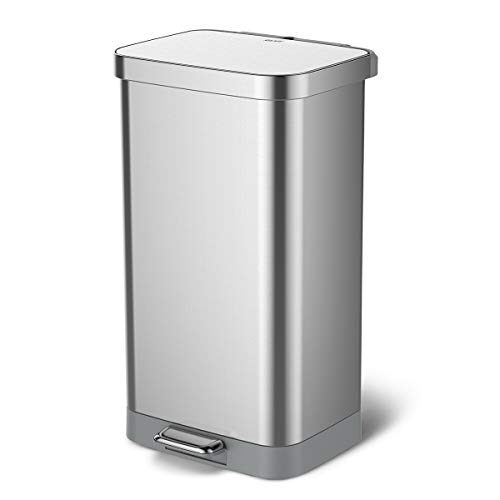 Glad Stainless Steel Step Trash Can with Clorox Odor Protection | Large Metal Kitchen Garbage Bin with Soft Close Lid, Foot Pedal and Waste Bag Roll Holder, 20 Gallon, All Stainless