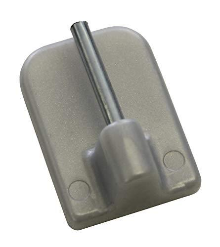 GARDINIA Klebehaken für Vitragestangen, 4 Stück, Mit Stahlstift, Selbstklebend, Höhe: 11 mm, Silber-matt