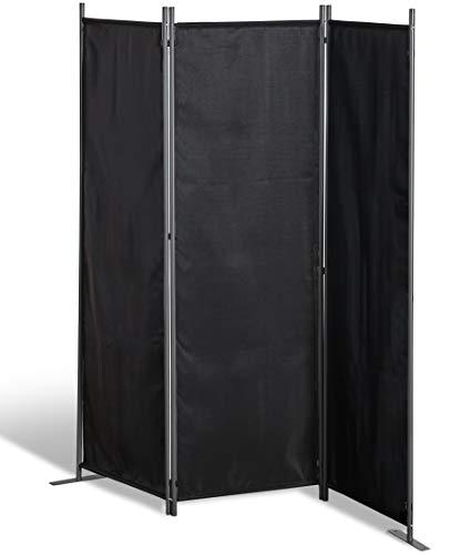 GRASEKAMP Qualität seit 1972 Stellwand 165x170 cm dreiteilig - schwarz - Paravent Raumteiler Trennwand Sichtschutz