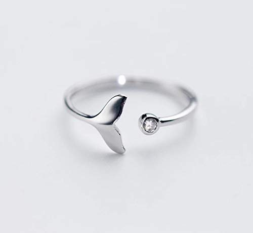 925 silber Ring Flosse mit Zirkonia Stein verstellbar Meerjungfrau echt silber Schmuckphantasien Wal Fisch Meer