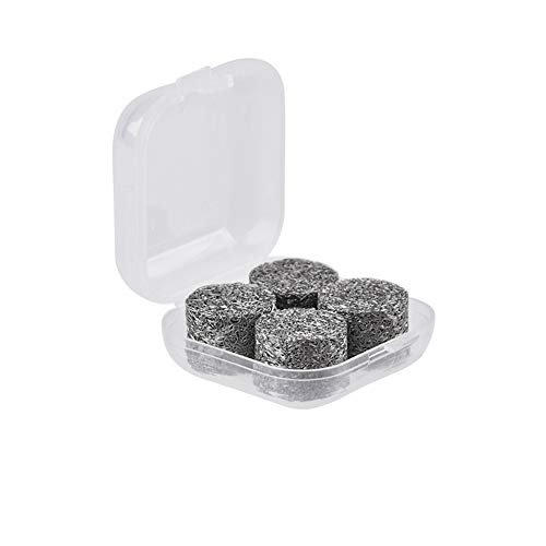4 Piezas Filtro de Espuma,MoreChioce Espuma de Filtro Elemento Filtrante de Espuma de Alta Presión de Acero Inoxidable con Caja de Almacenamiento de Plástico,Plateado