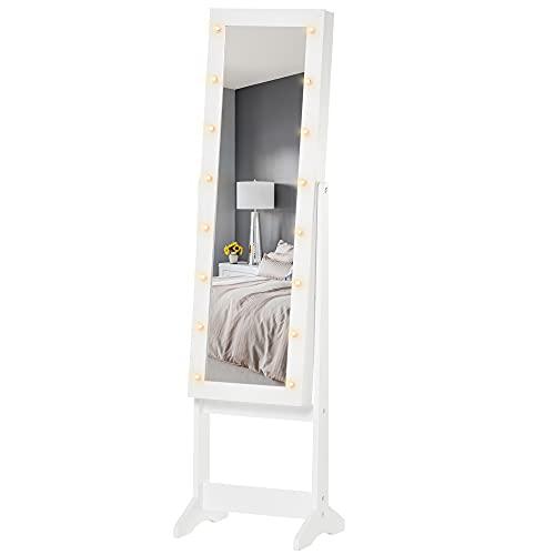 homcom Armadio Portagioie Portagioielli Specchio Regolabile e Luci LED, Legno, Bianco, 36x30x136 cm