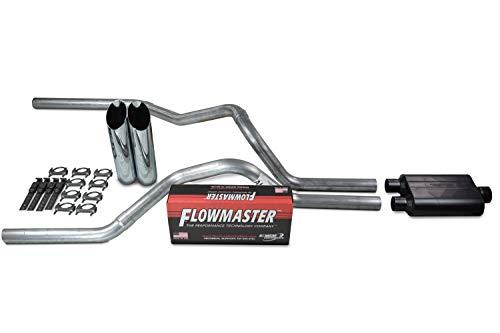Truck Exhaust Kits - Shop Line dual exhaust system 2.5 AL pipe Flowmaster Super 44 2.5' Chrome Slash Cut Weld on Tip
