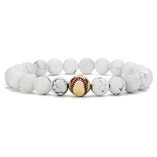 MHOOOA Naturstein Perlen Armband Armreifen Für Frauen Schwarz Weiß Farbe Elastisches Seil Baseball Charme Armbänder Paar Schmuck