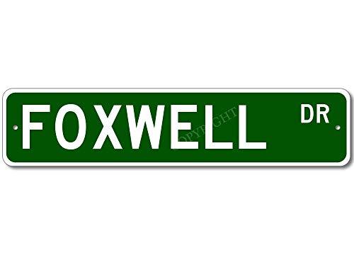 FOXWELL Street Outdoor - Cartel de calle estilo de metal para garaje, club bar, cenador familiar, decoración de casa de campo, 16 x 4 pulgadas