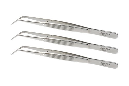 Universal Stainless Steel Tweezers – Heavy Pattern Precision Grade Curved Tip Forceps Tweezers with Serrated Tip and Knurled Handle (3 Pack)