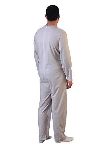 Rekordsan Pijama Antipañal Geriátrico Ideal Hombre en Fresco Algodón con 2 Cremalleras, Talla 5, Pack de 1
