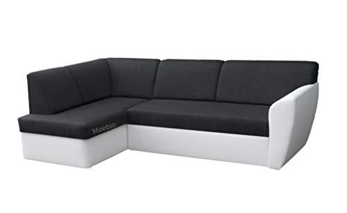 Moeblo Ecksofa Sofa Eckcouch Couch mit Schlaffunktion und Bettkasten Ottomane L-Form Schlafsofa Polstergarnitur Margo (Schwarz+ Weiß, Ecksofa Links)