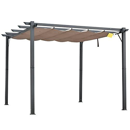 GXK Pergola mit Schiebedach Pavillon Terrassenüberdachung Garten Alu 3x3m Braun
