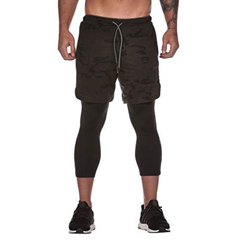 Celucke 2in1 Kompressionshose Herren Sport Leggings Mit 3/4 Laufhose und Trainingsshorts Mit Tasche, Atmungsaktiv Schnelltrocknend für Fitness, Radfahren, Training, Yoga, Wandern (Gelb, XXXL)
