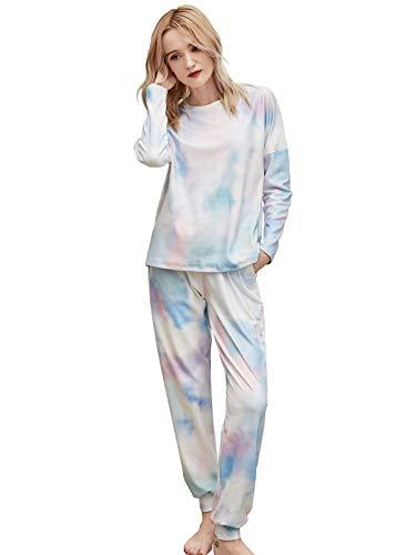 Leefrei Damen Langer Pyjama, Winter Schlafanzug, Winter Nachtwäsche (Blau-Pink, M)