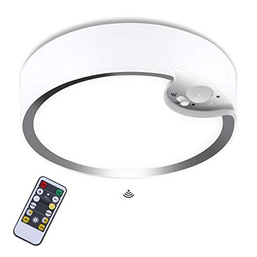 Glighone Lámpara Techo, Plafón LED Techo Alimentada por Pilas con Sensor Movimiento, Lampara Plafon Redondo Regulable con Mando Distáncia para Dormitorio Salon Cocina Baños