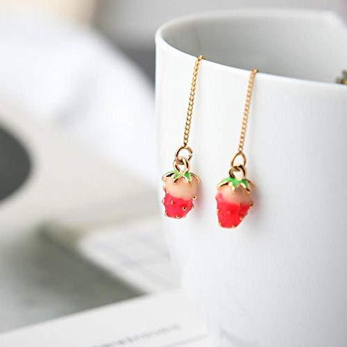 ZIXIYAWEI Oorbel Voor Vrouwen Rode Aardbei Mode Kassen Oorbellen Oor Lijn Voor Vrouwen Hangende Dangle Oorbellen Drop Earing Moderne Vrouwelijke Sieraden Oorbel