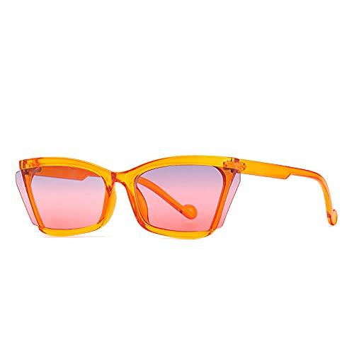 DLSM Fashion Gato Ojo Gafas de Sol Femenino Vintage Semi-Rimless Degradado Espejo Gafas Hombres Tendencias Sunglasses Shades UV400 Apto para Montar a Caballo-Rosa Gris Amarillo