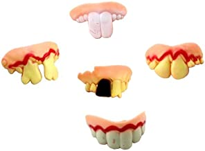 Desconocido Generic 5 PCS Halloween Prank Funny Various Modelling Entire Scary Bucktooth Dentures Teeth Fake Braces for Party Club, Random Style Delivery