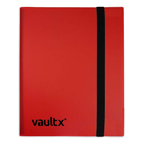 Vault X Binder - 4 Pocket Trading Card Album Folder - 160 Side Loading Pocket Binder for TCG (Red)