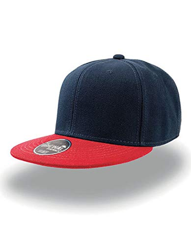 Atlantis Snap Back Flat Visor 6 Panel Cap - Navy/Red - OS