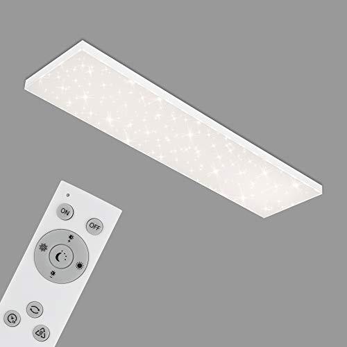Briloner Leuchten - LED Panel, Deckenleuchte dimmbar, Deckenlampe mit Lichtkante, Sternendekor, inkl. Fernbedienung, Farbtemperatursteuerung, 38 Watt, 3.800 Lumen, Weiß, 1195x295x69mm (LxBxH)