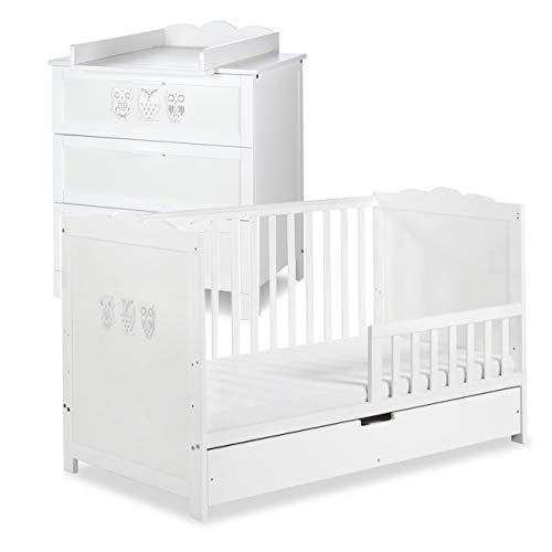 MARSELL Ensemble commode à langer + lit bébé 140X70 + tiroir