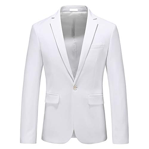 Men's Slim Fit Casual Blazer One Button Notched Lapel Turn-Down Collar Suit Jacket US Size 40 (Label Size 4XL) White