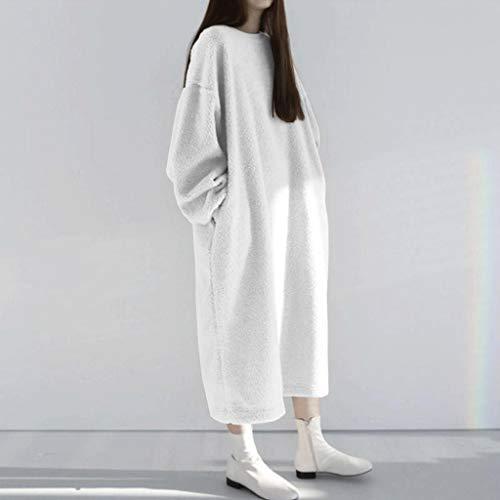 LXDWJ Elegante con Capucha mullida Vestido de Invierno para Mujer Jerseys cálidos Casual Soplo Manga Sudadera Femenina o Cuello túnica (Color : A, Size : Medium)