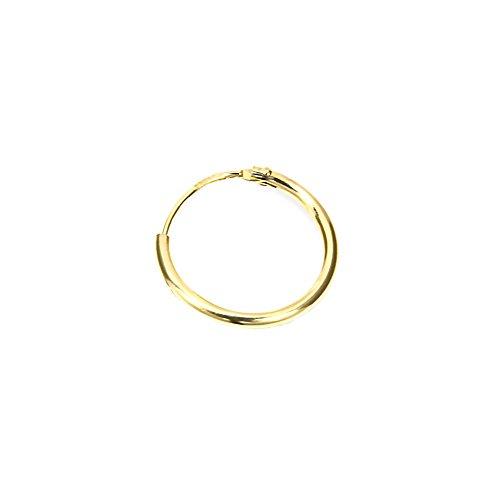 NKlaus 585er 14 Karat echt GOLD Einzel HERREN Creole Ohrring Ohrschmuck Ohrhänger 15mm 1747