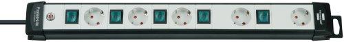 Brennenstuhl Premium-Line Stekkerdoos, 5-voudig met afzonderlijk schakelbare stopcontacten (met 3 m kabel), kleur: zwart/lichtgrijs
