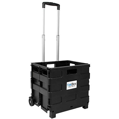 TekBox Folding Boot Cart Shopping Trolley Fold Up Storage Box Wheels Crate Foldable