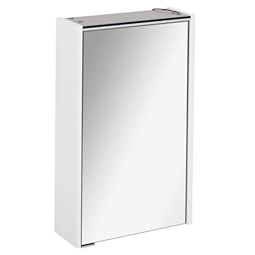FACKELMANN smalle spiegelkast badkamer LED-verlichting 1 deur 42 cm wit mat Denver