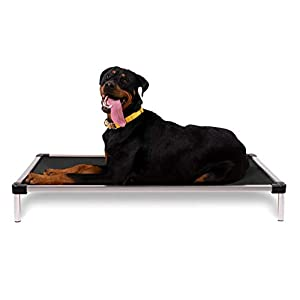 K9 Ballistics Chew Proof Elevated Dog Bed – Chewproof – All Aluminum – Indoor/Outdoor – Ripstop Ballistic Fabric – Ships Assembled – Fits Inside X-Large Crates 47″ x 29″ x 5″, Black