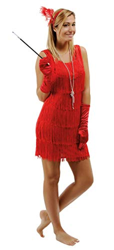 P'TIT CLOWN 90263 Déguisement Adulte Robe Charleston - Taille Unique - Rouge