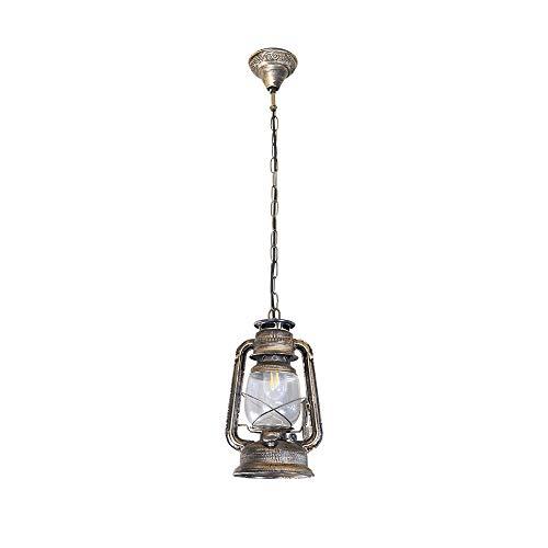 BYX Lámpara colgante de queroseno de bronce, lámpara colgante de cadena de techo de metal vintage con pantalla de vidrio para iluminación de mesita de noche de bar (bombilla E27 no incluida)