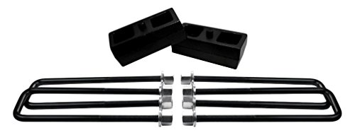 """American Automotive UBRB10-490, 2"""" Rear Suspension Lift Solid Cast Iron Blocks Plus 12"""" Extra Long, Square Leaf Spring Axle U Bolts"""
