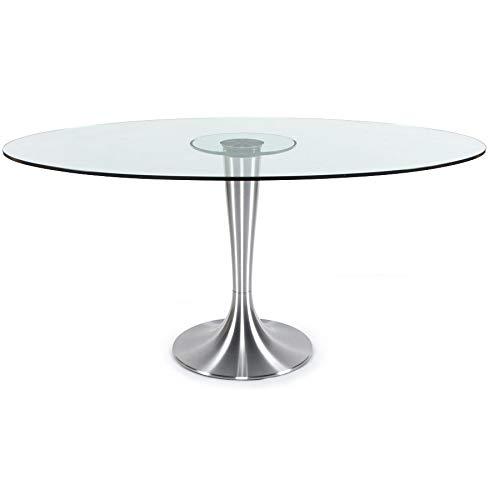 Alterego - Table à dîner design 'KRYSTAL' ovale en verre - 160x108 cm