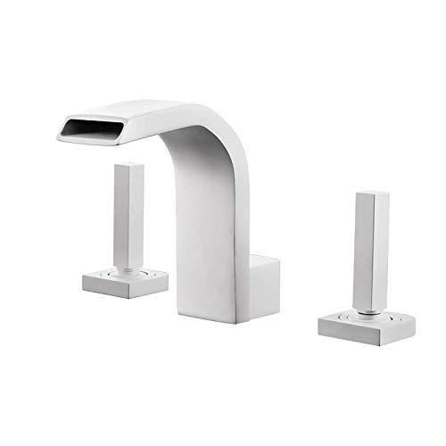 Juego de ducha Grifo mezclador para lavabo Cascada Grifo para lavabo Mezclador de agua fría y caliente Grifo para lavabo Grifo para lavabo de doble manija Grifo para lavabo, Blanco