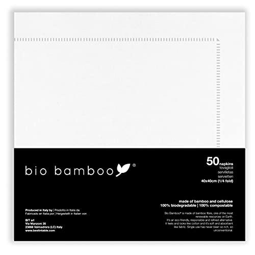 bio bamboo Servilletas desechables, 40 x 40 cm, marco plateado, viscosa de bambú y celulosa, 50 unidades