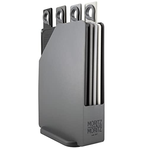 Moritz & Moritz 4x Tabla de Cortar Cocina con Soporte 20,5 x 14,5 cm - Superficie Texturizada Antideslizamiento para Cortar con Seguridad con asas en un Práctico Soporte