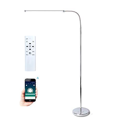 QJUZO LED Stehlampe Dimmbar Mit Fernbedienung, 12W Moderne Bürolampe Stehleuchte für Wohnzimmer Büro,Tageslicht Standlampe Leselampe mit APP-Steuerung, Flexibler Schwanenhals,Memory-Funktion, Silber