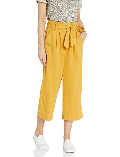 Amazon Brand - Goodthreads Women's Washed Linen Blend Paper Bag Waist Crop Pant, Nugget Gold, 10