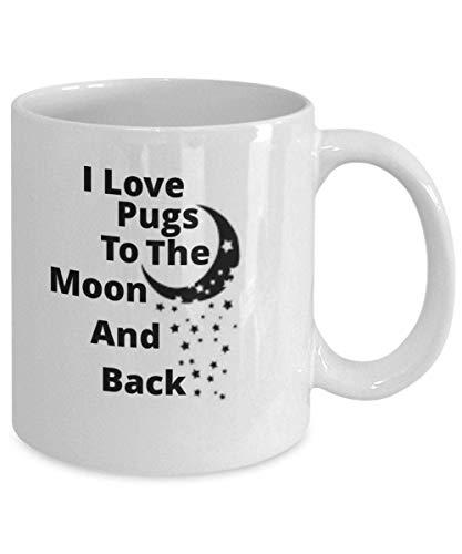 N\A Amo Pugs to The Moon and Back Taza de café de 11 oz