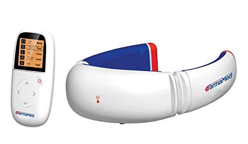 FARMAMED Elettrostimolatore collo, Terapia Magnetica con calore per dolori muscolari, Elettrostimolatore cervicale multifunzione con telecomando wireless con display LCD
