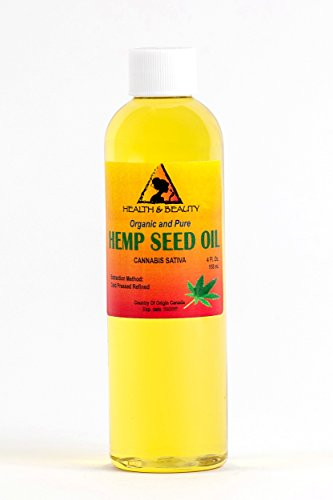 Hemp Seed Oil Refined Organic Carrier Cold Pressed Pure 4 oz, 118 ml