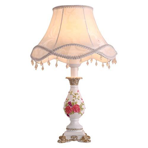 Hong Yi Fei-Shop lámpara de mesita Sala de Estar Dormitorio Lámpara de mesilla de Noche Elegante lámpara de Mesa Tallada en Resina con Pantalla de Tela Blanca Luz Nocturna